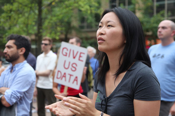#DontHave1Million campaigner Eveline Xia calls on governments to provide more data on foreign ownership at a recent housing rally in Vancouver. Data probe one of many solutions explored in upcoming Tyee Solutions reports. Photo by David P. Ball via The Tyee